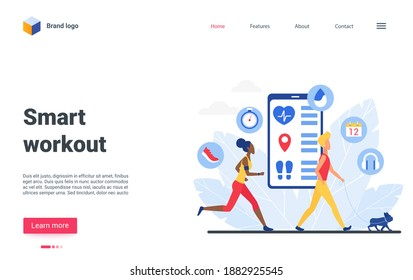 Cartoon tiny sportsman character do sport exercises, run, walk with dog, use virtual trainer application. Smart workout website landing page design, sport training app for people vector illustration