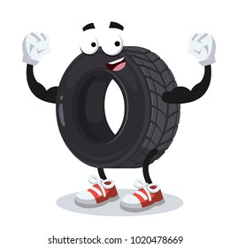 cartoon tire mascot shows its strength on a white background
