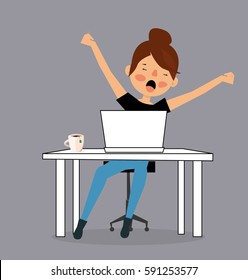 Cartoon Tired sleepy woman yawning, working at office desk. Vector Illustration