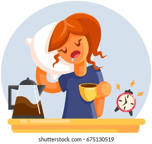 Cartoon Tired sleepy yawning woman with cup of coffee. Flat style vector illustration