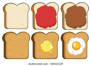 Cartoon Toast Bread Slice. Vector Illustration Isolated On White Background Collection Set