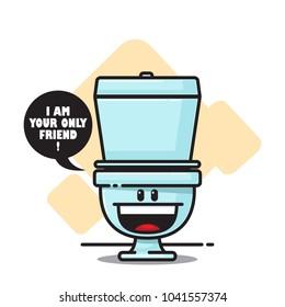 Cartoon toilet character. Vector illustration