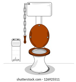 A cartoon toilet with wooden seat and chain