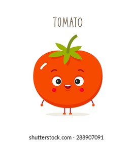 Cartoon tomato with eyes and smiling. Vegetables in flat style