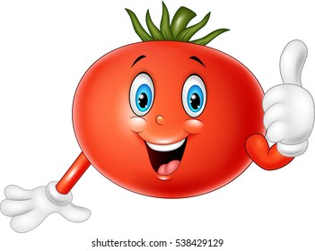 Cartoon tomato giving thumbs up