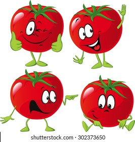 cartoon tomato with many expression, hand and leg