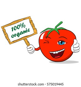 Cartoon tomato with a sign giving thumbs up