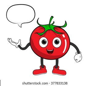 Cartoon Tomato With Text, a hand drawn vector illustration of a cartoon tomato with text.