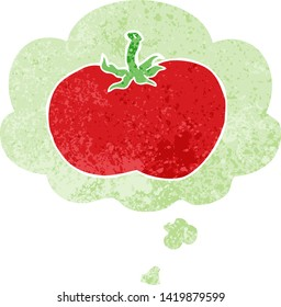 cartoon tomato with thought bubble in grunge distressed retro textured style