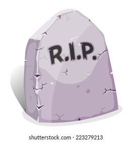 Cartoon Tombstone With RIP/ Illustration of a funny cartoon halloween tombstone for graveyard landscape with rest in peace inscription