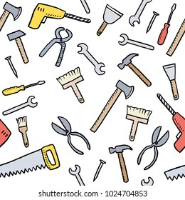 Cartoon tools background - seamless vector texture with hardware, woodworking tools and DIY utensils.