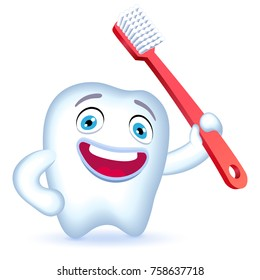 Cartoon Tooth Character with hand on his hip holding a toothbrush. Vector illustration.