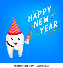 cartoon tooth character with paper shoot and happy new year.  Great for health dental care concept. illustration