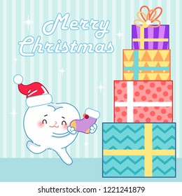 cartoon tooth and Christmas on the blue background