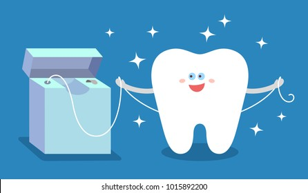 Cartoon tooth with dental floss. Flossing and cleaning teeth. Dental care and hygiene Illustration or concept.