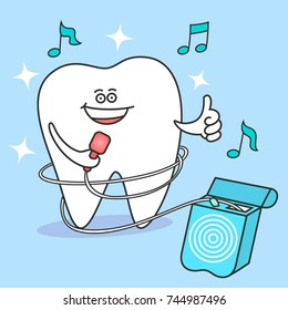 Cartoon tooth with dental floss. Flossing and cleaning teeth. Dental care and hygiene Illustration or concept. Tooth singing.