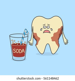 Cartoon tooth with a glass of soda and with decay or caries. Dental illustration. Teeth discoloration.