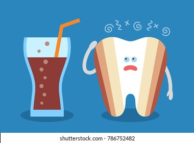 Cartoon tooth with a glass of soda and with decay or caries. Dental illustration. Dentistry icon. Teeth discoloration. Flat style.