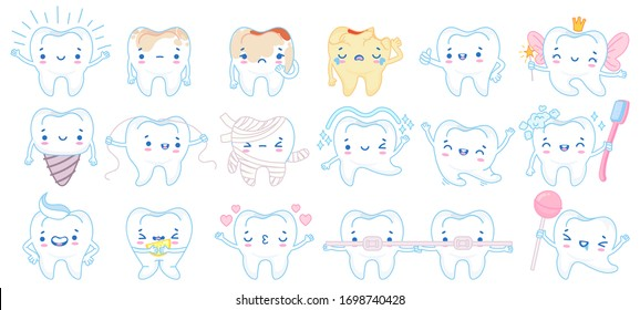 Cartoon tooth mascot. Happy smiling teeth treatment characters, toothpaste and toothbrush. Dental mascots vector illustration set. Toothache cleaning floss, hygiene toothbrush