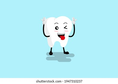 Cartoon tooth mascot, vector illustration of a cute tooth character mascot