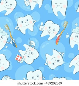 Cartoon tooth seamless pattern. Seamless pattern with funny teeth on blue background. Vector illustration