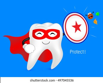 Cartoon tooth with shield, great for healthy dental care concept. Illustration