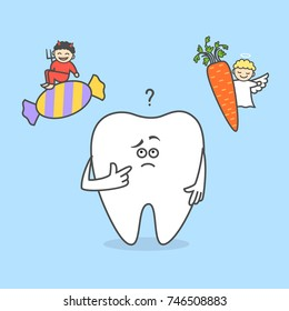 Cartoon tooth thinking with angel and devil. Candy and carrot. Sweets and vegetables. Good and bad food for your teeth.