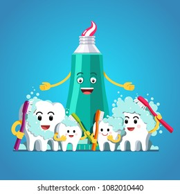 Cartoon toothpaste tube and happy teeth family characters brushing themselves with toothbrushes. Inspirational brushing tooth clipart. Kids teeth hygiene concept. Flat vector illustration isolated