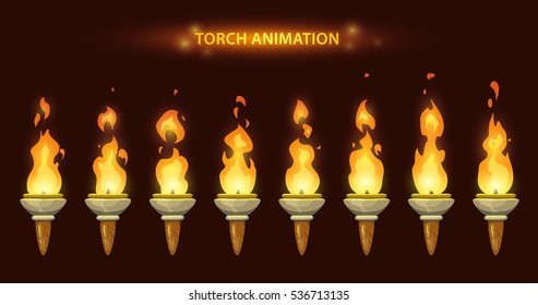 Cartoon torch animation. Fire sprites set.