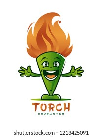 Cartoon torch mascot character with flaming head