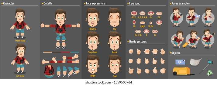 Cartoon tourist young man constructor for animation. Parts of body: legs, arms, face emotions, hands gestures, lips sync. Full length, front, three quater view. Set of ready to use poses, objects.