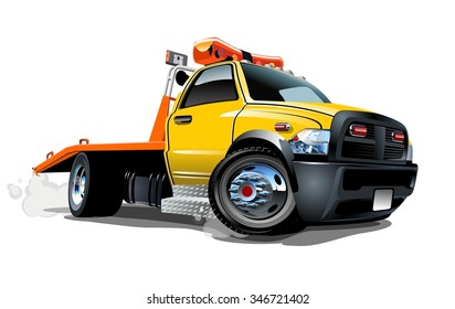 Cartoon tow truck isolated on white background. Available EPS-10 vector format separated by groups and layers for easy edit