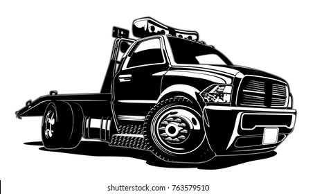 Cartoon tow truck isolated on white background. Available EPS-8 vector format separated by groups and layers for easy edit