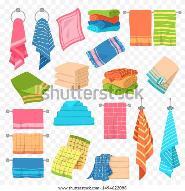 Cartoon towel. Kitchen, beach and bath hanging and stacked towels. Rolls for spa hygiene textile objects colorful vector cotton softness terry fluffy towel collection