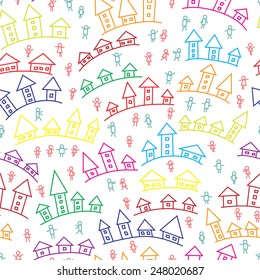 Cartoon Town background. Houses. Peoples. Colorful seamless pattern.