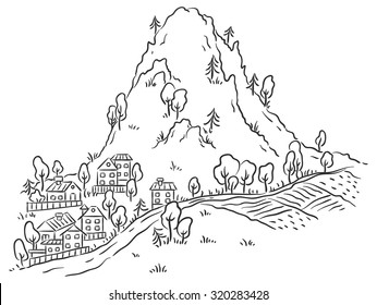 Cartoon town at the foot of the mountain, black and white outline