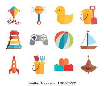 cartoon toy kite rattle duck ball boat rocket, object for small children to play, flat style icons set vector illustration