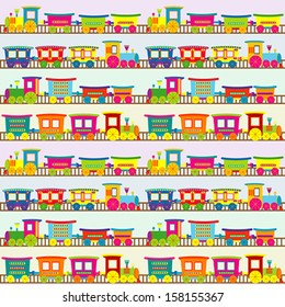 Cartoon toy train background for kids