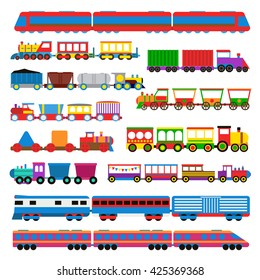Cartoon toy train with colorful blocks isolated over white and toy train vector set