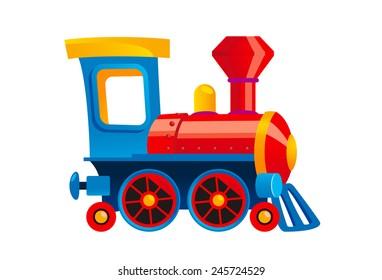 Cartoon toy train vector illustration.
