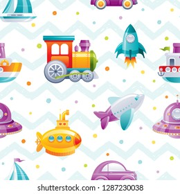 Cartoon toy transport seamless pattern. Cute 3d boy boat, car, airplane, submarine, sail ship, train, rocket, wallpaper design. Fun vector illustration isolated on zig zag  polka dot drawn background