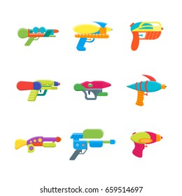 Cartoon Toy Water Guns Color Icons Set Fun for Kids. Vector illustration