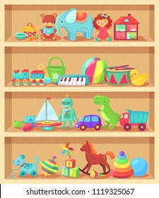 Cartoon toys on wood shelves. Funny animal baby piano constructor girl doll and ball robot plush bear colorful vintage elements for child joy. Kids toy shopping shelf vector group objects collection