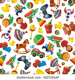 Cartoon toys seamless pattern for kids isolate on white background.