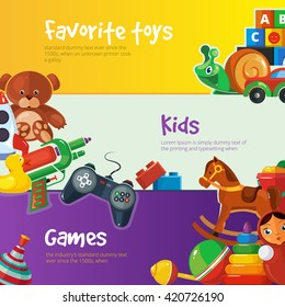 Cartoon toys set for web banners with place for your text.