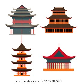 Cartoon Traditional Asian House Objects Set Pagoda Concept Element Flat Design Style. Vector illustration of Oriental Home or Temple