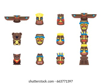 Cartoon Traditional Religious Totem Color Icons Set Flat Style Design Element Native Culture Tribal Symbol. Vector illustration of Totems