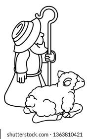 A cartoon traditional shepherd and sheep or lamb