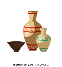 Cartoon traditional tribal pottery set isolated on white. Clay jar, jug, dish, bowl with native decoration and ornament. Ancient small and big volume vase, brown plate. Vector flat illustration