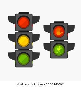 Cartoon Traffic Light Different Types Set Safety or Warning Concept Element Flat Design Style. Vector illustration of Stoplight
